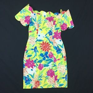 Vintage Dress Floral Lilly Style Party Tropical